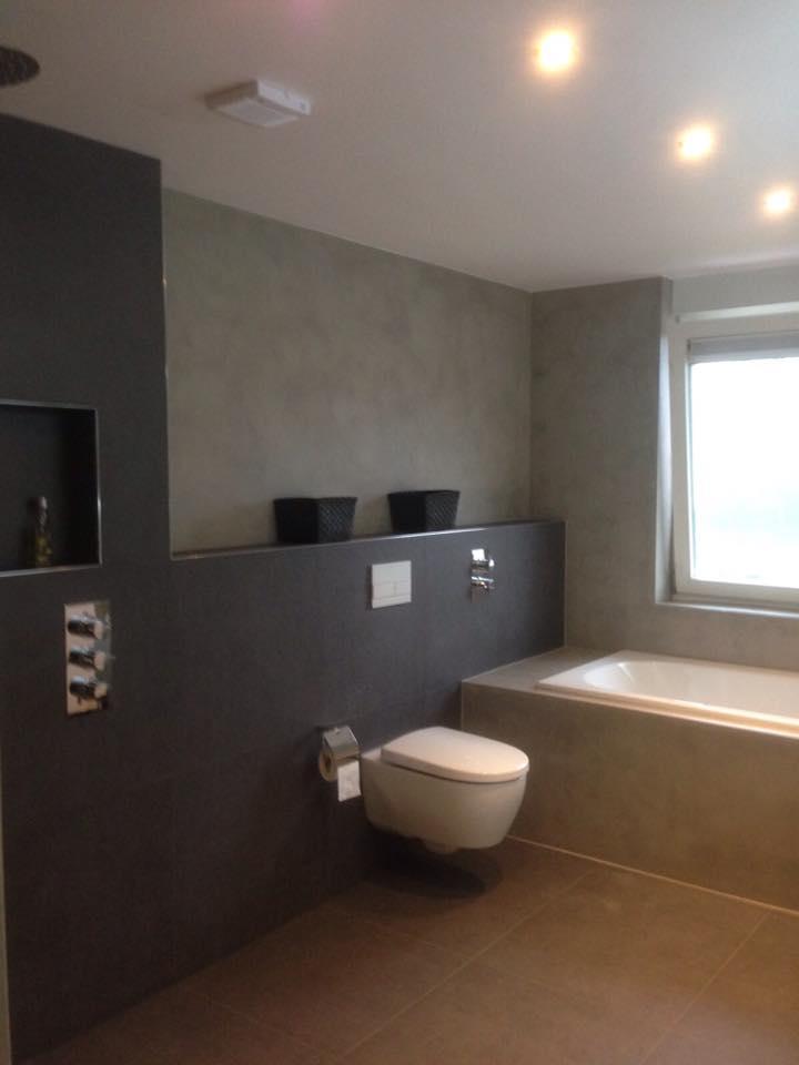 De spaan showroom microcement badkamer naadloze wanden project arnhem - Huidige badkamer ...
