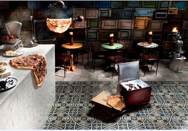 peronde pizzaria vloer tegels decoratie de spaan showroom